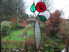 Items similar to Stained Glass Effect Art Nouveau Red Rose Window/Glass Cling - Made to order on Etsy Stained Glass Flowers, Stained Glass Art, Stained Glass Windows, Mosaic Glass, Rose Window, Window Glass, Window Art, Art Nouveau, Stained Glass Christmas