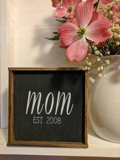 Rustic farmhouse inspired 'mom EST' CUSTOMIZED framed (affiliate)