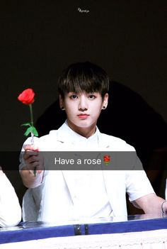 (I just realized his face looks like he's gonna murder you if you don't take that rose) Jung Kook, Jung Hyun, Busan, Vmin, Foto Bts, Taekook, Bts Jungkook, Kpop Snapchat, Jeongguk Jeon