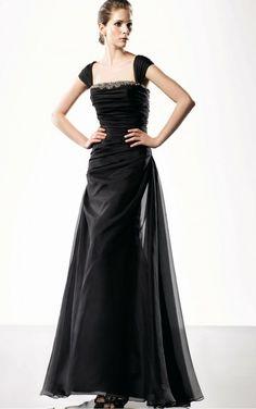 Black Sheath Floor-length Shoulder Straps Dress [Dresses 10097] - $227.00 :
