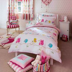 Buy Harlequin What A Hoot Owls Duvet Cover and Pillowcase Set, Double set from our Children's Bedding Sets range at John Lewis & Partners. Kids Bedroom Ideas For Girls Toddler, Toddler Rooms, Kids Rooms, Owl Room Decor, Home Decor Bedroom, Owl Bedding, Linen Bedding, Bed Linen, Bed Covers For Girls