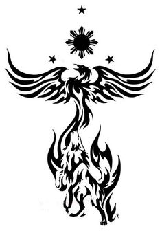 Philippine Sun Stars Phoenix And Wolf Tattoo Designs