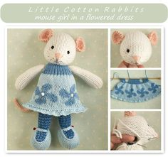 Girl Mouse with a flowered and frilled dress - knitting patterns