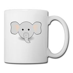 White Elephant-Face-Cartoon Ceramic Milk Cup 11oz Unisex Printed On Both Sides * For more information, visit now : Cat mug
