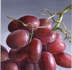 Acrylic Painting Grape Still Life - Original Small Painting - Food Art for Kitchen Decor, Home Decor