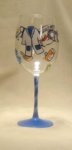 Pharmacist Theme Hand Painted Wine Glass, $40.00 (http://www.bybecca.com/pharmacist-theme-hand-painted-wine-glass/)