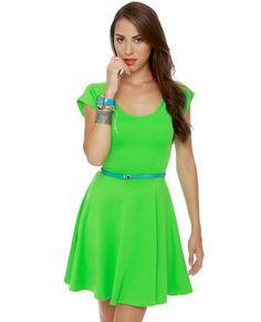 Cross and Effect Neon Green Dress