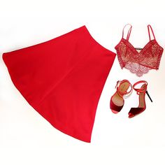 Roses Are Red, Violets are Blue... this red midi skirt is the outfit for you!