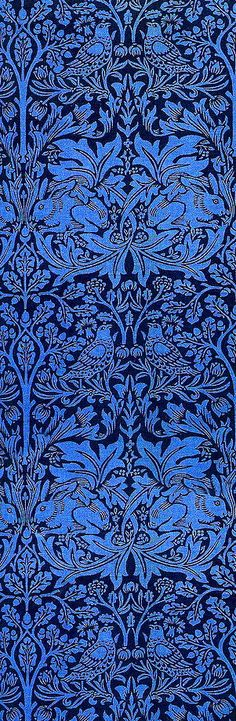 Easter vibe: 'Brother Rabbit' textile design by William Morris, produced by Morris & Co in 1882 __ posted on flickr by John Hopper, for The Textile Blog