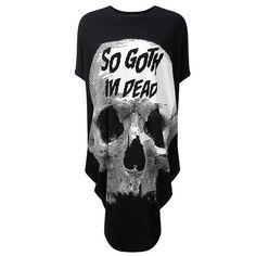 So Goth oversized tuniek jurk met schedel print zwart - Gothic