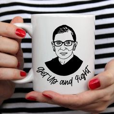 We are all grieving the loss of RBG but we will continue to Get up and Fight because that is what she did. With gratitude for her life's work we celebrate her and hope that you too will get up and fight each day. 10% of each mug sale will be donated to the ACLU Women's Rights Project that was founded by RBG in 1972. *Mugs will ship/be available for pickup the week of October 5th* Paper Bowls, Ruth Bader Ginsburg, Get Up, Original Artwork, October 5th, Women's Rights, Mugs, Hand Washing, Women Empowerment