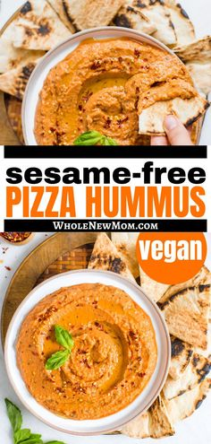want a new hummus recipe with a unique flavor? This vegan hummus dip is sesame free and has the delicious taste of pizza. Just try this healthy snack that is so easy to make and the whole family will love. Yummy Healthy Snacks, Easy Healthy Recipes, Real Food Recipes, Vegetarian Recipes, Snack Recipes, Dinner Recipes, Easy Meals, Hummus Dip, Vegan Hummus