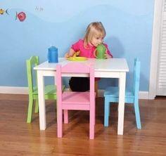 Mesa para ni os tot madera 4 sillas playroom pinterest - Mesas de colores para ninos ...