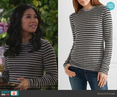 Eve's stiped long sleeve sweater on 9JKL.  Outfit Details: https://wornontv.net/84714/ #9JKL