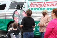 Tracey Cole, General Manager of Krispy Kreme in Goldsboro, NC was amazing at the Prize Wheel. His enthusiasm was contagious!