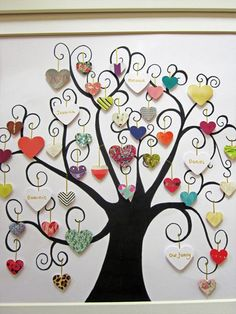 Perfect as a heartfelt gift and homely artwork. Perfect as a heartfelt gift and homely artwork. Available in 3 sizes. and inches. Button Art, Button Crafts, Tree Crafts, Paper Crafts, Decoration St Valentin, Family Tree Art, Personalised Family Tree, Personalised Gifts, Diy Gifts