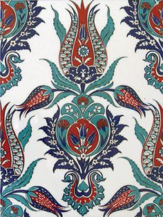 Tulpenmuster-Studie – Morgan Elizabeth – Join in the world of pin Turkish Design, Turkish Art, Turkish Tiles, Turkish Pattern, Oriental Pattern, Islamic Tiles, Islamic Art, Ceramic Tile Art, Islamic Patterns