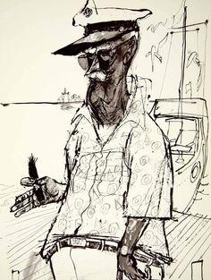 1960 Print Erich Sokol Ship Captain Tan Cigar Boat Yacht Dock Pier Caricature