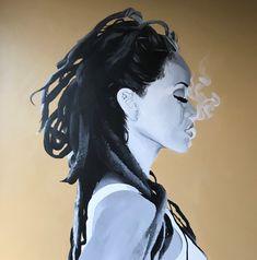 Acrylic Painting by Lena Kulaç Kitchen Art, Rihanna, Dreadlocks, Hair Styles, Painting, Beauty, Hair Plait Styles, Hair Makeup, Painting Art