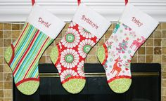 Personalized Christmas Stockings. Red Green White Pink and Teal. Stripes, Daisies, Floral, Reindeer. Matching. Coordinating. Family set of stockings. CUSTOM. 12 styles available at this link!