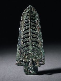 China  Dagger Axe (Kui) with Masks, Cicadas, and Bird, Late Shang dynasty, late Anyang phase, or early Western Zhou dynasty, about 1100-950 B.C.  Metalwork; bronze; weapon, Cast bronze