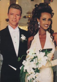 David Bowie and Iman wedding photo. Although the photo looks a little dated, it's hard to be more stylish than this couple.
