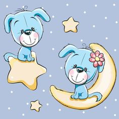 Cute dog with stars and moon card vector 01