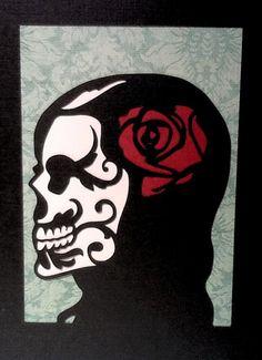 Custom Silhouette Sugar Skull - Cut Paper Artwork - Custom Order for Amber DeAnn
