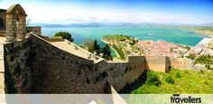 View from the Palamidi Castle Hill Corinth Canal, Mycenaean, Grand Canyon, Greece, Castle, Europe, Water, Travel, Outdoor