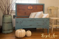 Blue Blanket Chest- custom blue (1:2 Annie Sloan Aubusson Blue and Pure White) and clear wax.