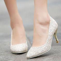 Calçados Femininos - Saltos - Bico Fino - Salto Agulha - Branco / Dourado - Gliter - Social de 2016 por R$133,31