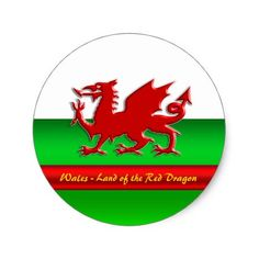 Wales - Home of the Red Dragon metallic-effect Classic Round Sticker #zazzle HightonRidley