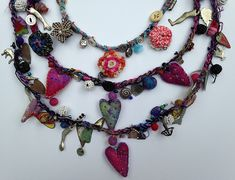 charm and fiber necklaces | Flickr - Photo Sharing!