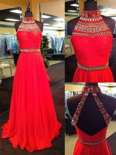 High Neck Prom Dress,Classic A-Line Prom Dresses,High Neck Prom Dress,Floor Length Red Evening Dress with Rhinestone,Chiffon Backless Prom Dress,11043069