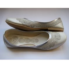 White Bridal Ballet Flats/Wedding Shoes/Silver Shoes/Handmade Indian Designer Women Shoes or Slippers/Maharaja Style Women Jooties on Etsy, $32.10