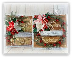 Hello, my Friends! Today I would like to share with you the Mixed Media Christmas Cards. Christmas time is coming so let's start prepa. Christmas Time, Christmas Wreaths, Christmas Cards, Magic Crafts, Altered Art, I Card, Mixed Media, Gift Wrapping, Invitations