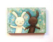 ORIGINAL Illustration Painting Bunny Rabbit Woodland Wedding Love Couple Run