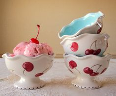 Hand Painted Ice Cream Cups with Cherries