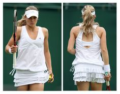 Combination photo shows Russia's Kirilenko wearing outfit designed by Stella McCartney during her match at Wimbledon tennis championships in London.