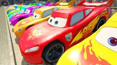 COLORS LIGHTNING MCQUEEN in Crash with Train - Spiderman Saves McQueen C...