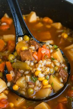 Easy beef barley soup recipe crockpot recipe in 2019 Beef Soup Recipes, Crockpot Recipes, Cooking Recipes, Beef Soups, Crockpot Vegetable Beef Soup, Beef Welington, Sirloin Recipes, Beef Sirloin, Fondue Recipes