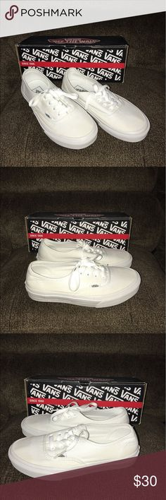 White Vans Size 7 Women's/ 5 Men's White Vans Size 7 Women's or Size 5 Men's! These have just been sitting in my closet! Worn only a handful of times! Great Condition! No Trades! No Merc! Vans Shoes
