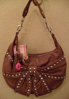 NWT BETSEY JOHNSON Bows & Arrows Brown Leather Hobo Bag Handbag $268 (Save $93)   eBay