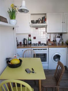 White kitchen and appliances, kind of like what ours might be like