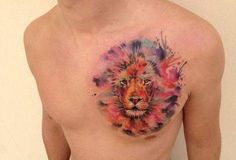 Gorgeous Disney watercolor tattoo on chest for girls - lion tattoo Tribal Lion Tattoo, Mens Lion Tattoo, Lion Tattoo Design, Tattoo Designs Men, Disney Watercolor Tattoo, Watercolour Tattoos, Tatouage Sublime, Chest Tattoo, Tattoo You