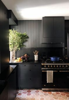 classic old fashion dark kitchen by colin king Black Kitchen Cabinets, Black Kitchens, Home Kitchens, Kitchen Black, Neutral Kitchen, Brown Cabinets, Kitchen Cabinetry, Kitchen Flooring, Classic Kitchen