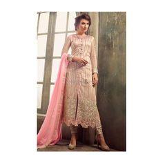 Gorgeous Pink Side Slit Heavy Net N Georgette Designer Pakistani Suit via Polyvore featuring intimates