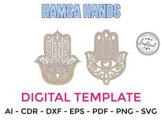 HAMSA HANDS for LASERCUT cut files clipart Silhouette Dxf Eps | Etsy Laser Cut Files, Hamsa Hand, Craft Items, Handmade Crafts, Laser Cutting, Cutting Files, Clip Art, Hands, Invitations