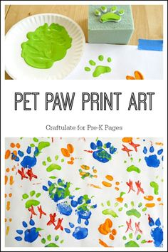 Paw Print Painting for a Pet Theme in Preschool or Kindergarten. A fun painting activity for kids at home or school while learning about pets. Make your own inexpensive paint stampers! # Pets activities Pet Paw Print Art - Pre-K Pages Pet Vet, Pet Paws, Animal Projects, Animal Crafts, Art Projects, Painting Activities, Preschool Activities, Toddler Art, Toddler Crafts