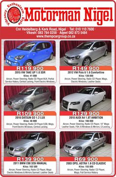 MotorMan Nigel's Got You Covered, Check Out Our Latest Advert In The Heraut Newspaper!  Finance Available! Sales/ Whatsapp: 082 873 5484 www.thempcargroup.co.za Visit us: Corner Heidelberg & Kerk Street, Nigel E and OE #cars #nigel #motorman #motormanNigel #VW #Datsun #Opel #bmw R Man, Newspaper, Vw, Finance, Corner, Cars, Street, Vehicles, Check